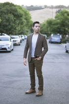 olive pants - Steve Madden shoes - twill brown J Crew blazer - white Puma shirt