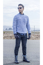 navy Mossimo boots - 508 Levis jeans - blue white H&M sweater