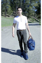 v-neck calvin klein shirt - duffle Ralph Lauren bag - Zara pants
