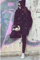 H&M coat - Bershka leggings - Bershka bag - lgr sunglasses - Fred Perry sneakers