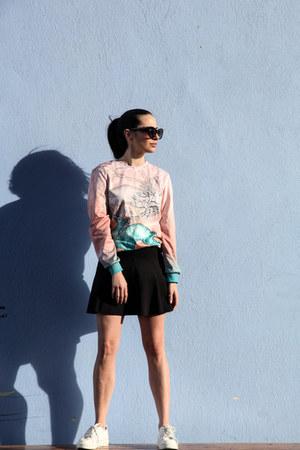 skater Bershka skirt - Mr Gugu & Miss Go sweater - cat eye asos sunglasses