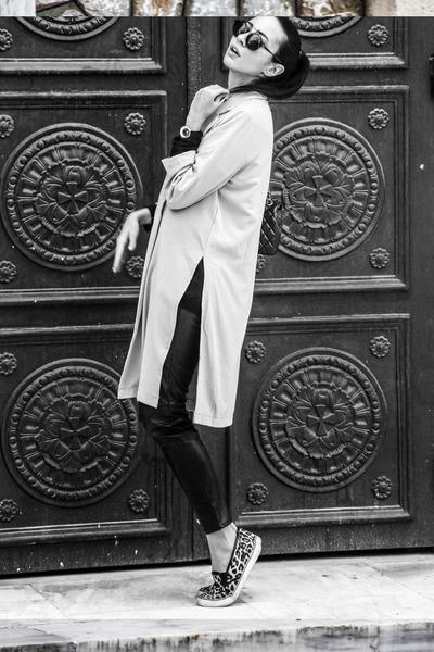 long line AX Paris jacket - Zara sweater - Chanel bag - lgr sunglasses