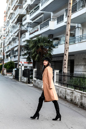 Sante shoes boots - camel milanoo coat - leather H&M leggings