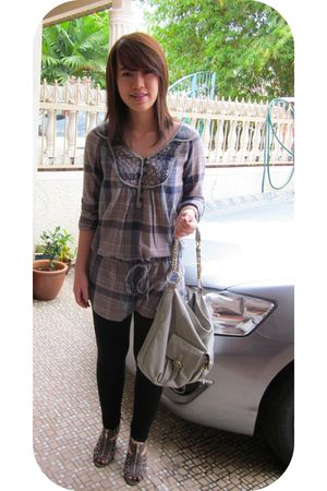 green Zara top - silver Trendy Confessions bag - gray Charles & Keith shoes