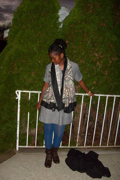 black H&M scarf - gray funky story dress - blue Target tights - black boots - gr