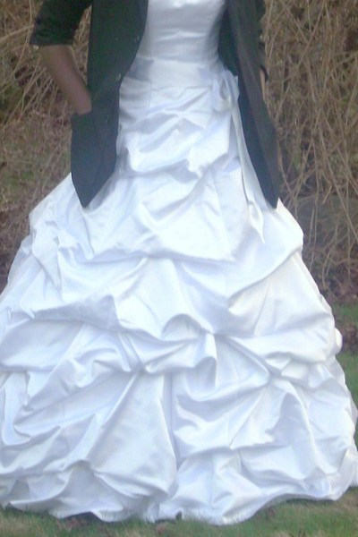 black blazer - white Davids Bridal dress