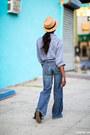 Navy-denim-jeans-tan-straw-hat-light-blue-linen-shirt