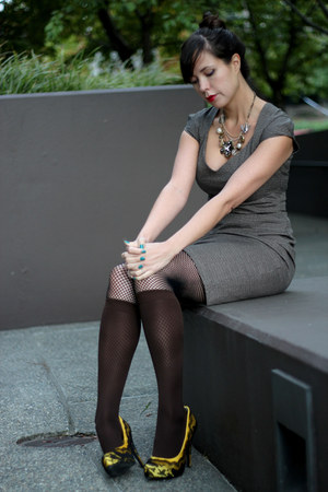 heather gray tweed H&M dress - dark brown leggings - yellow Marco Santi heels