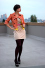 Beige-mango-dress-orange-american-rag-jacket-magenta-jc-penney-tights
