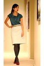 Heather-gray-jc-penney-tights-teal-banana-republic-blouse