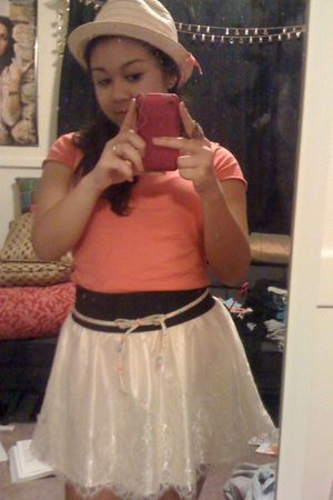 orange Icing hat - orange American Eagle shirt - Wet Seal skirt - belt