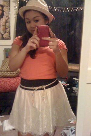 orange Icing hat - orange American Eagle shirt - Wet Seal skirt - belt
