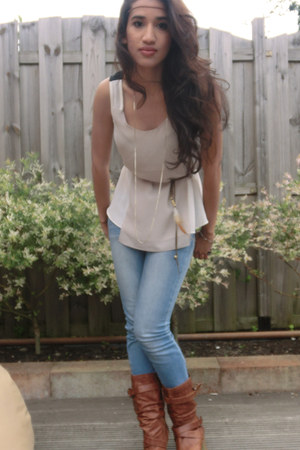 ivory Sugarlips top - Ebay boots - sky blue New Yorker jeans - H&M accessories