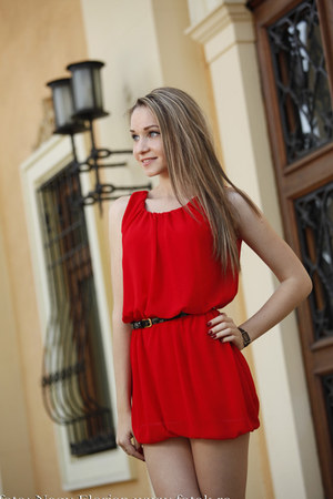 red Sax dress - black Pierre Lannier watch