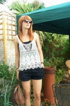 H&M shorts - Edina Ronay bag - Accessorize sunglasses - H&M vest - Zara vest