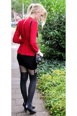 red Zara blazer - black H&M skirt - black House of Holland tights - black Gracel