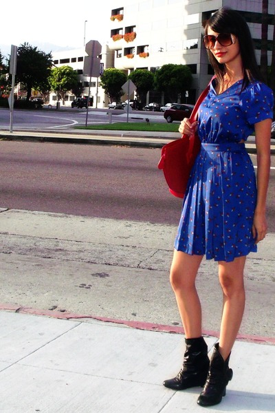black Ross boots - blue Urban Outfitters dress - ruby red Louis Vuitton purse