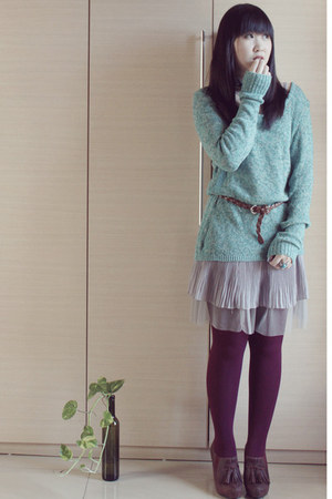 dark brown dfuse shoes - turquoise blue knit Cache Cache sweater - maroon tights