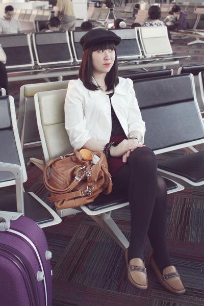 black hat - brown elle loafers - maroon Forever 21 skirt