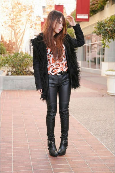 Nasty Gal coat - sam edelman shoes - Nasty Gal top - Zara pants
