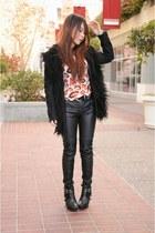 Nasty Gal coat - sam edelman shoes - Nasty Gal top - Zara pants