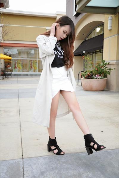 Shellys London shoes - H&M jacket - Endless Rose skirt - alex & chloe top