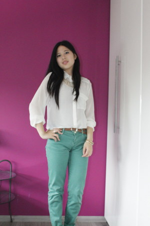 Zara jeans - H&M blouse - H&M necklace - braided Mango wedges