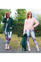 dark green Mango jacket - light pink H&M sweater - H&M pants - peach Zara heels