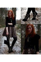 black black H&M sweater - dark brown leopard print Danity dress