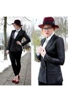 crimson feathers H&M hat - black leggings - black glitter Karl Lagerfeld blazer