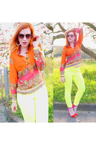 carrot orange print H&M blouse - salmon very vintage Seen sunglasses