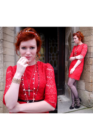 gold gold SIX bracelet - red lace Primark dress - black chain Zara heels