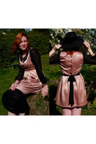 black H&M hat - peach silk and sheer miss patina dress - black HOGL wedges