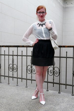 white sheer H&M blouse - white austin clutch Fossil bag - black Zara skirt
