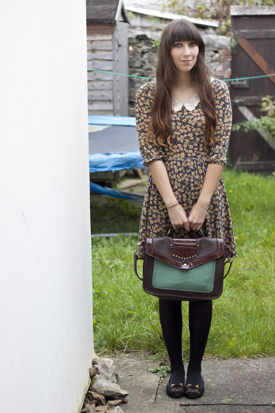 dark brown Springfield bag - mustard Zara dress - black kitty shoes DIY flats