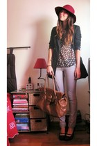 heather gray pull&bear jeans - crimson Parfois hat - black Primark blazer - dark