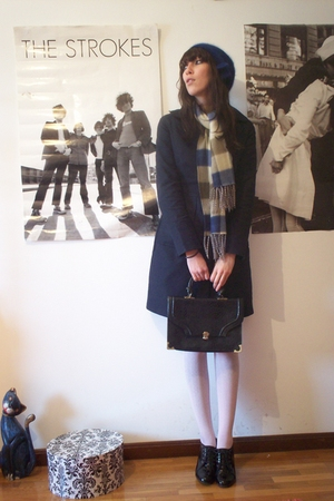blue Mango coat - black Secoond hand shoes - blue second hand scarf - blue H&amp;M h