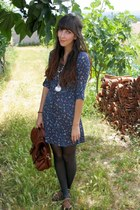 brown Stradivarius shoes - blue Bershka dress - tawny H&M bag - silver pocket wa