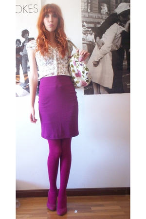purple H&M skirt - purple Zara shoes - white H&M shirt