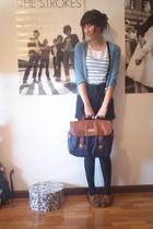 blue Zara cardigan - black second hand shorts - blue H&M Kids top - brown Wicked