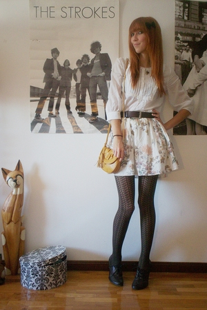 H&M blouse - Zara skirt - thrifted belt - H&M accessories - thrifted shoes - Mas