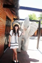 white H&M dress - light yellow boater Zara hat - black Stradivarius bag