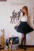 black H&M skirt - black second hand shoes - white Zara shirt