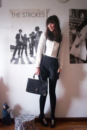 white H&M cardigan - gray second hand shorts - black second hand shoes - black v