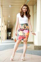 Forever 21 skirt - H&M shirt - Amori heels - Lovisa ring