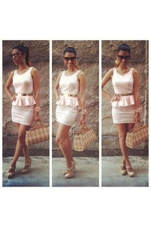 light pink peplum top - tawny bag - gold metal belt - brown cat eye glasses