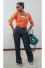 Orange-shirt-sky-blue-purse-navy-pants-navy-necklace-eggshell-sandals