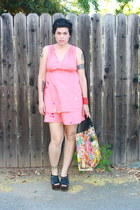 salmon citizen rosebud dress - bubble gum shoppers tote Blue Q bag