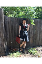 boots - black hat - black black t-shirt top - black skirt skirt