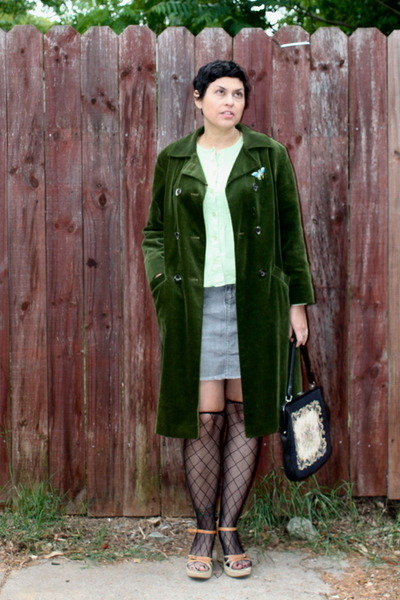 olive green coat - lime green shirt - black socks - navy denim skirt skirt